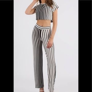 Pants - Line Of Vision Striped Top And Pant Set🔥